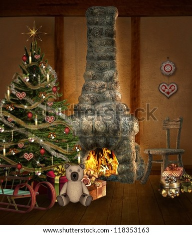 Christmas room with christmas tree and fireplace