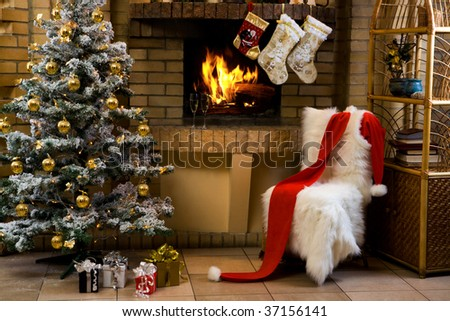 Christmas room with fireplace, chair, presents under decorated fir tree and toys in it