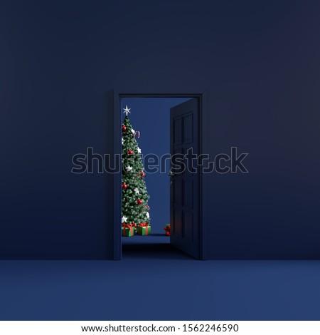Christmas room with open door. 3d rendering