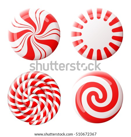 Christmas round candy set. Striped peppermint candies without wrapper. Qualitative design element for christmas, new years day, winter holiday, dessert, new years eve, food, silvester, etc