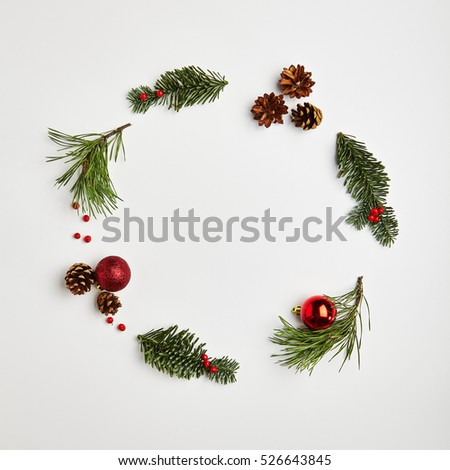 Christmas Round Frame from Natural Branches and Christmas Balls. Flat Lay #526643845