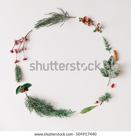 Christmas round frame made of natural winter things. Flat lay. #504917440