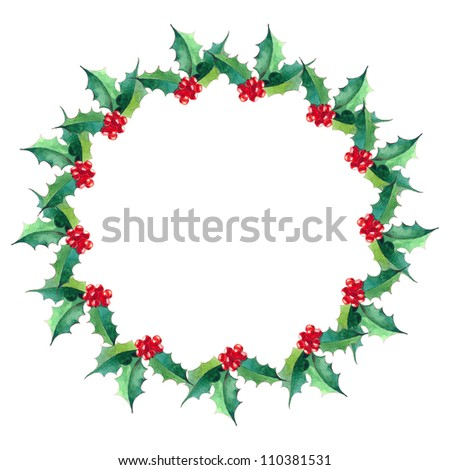Christmas round frame with holly.watercolor illustration - stock photo