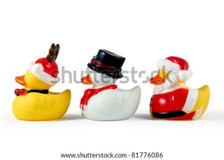 Christmas rubber duckies on white.