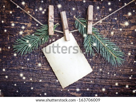 Christmas rustic decoration on textured wooden background