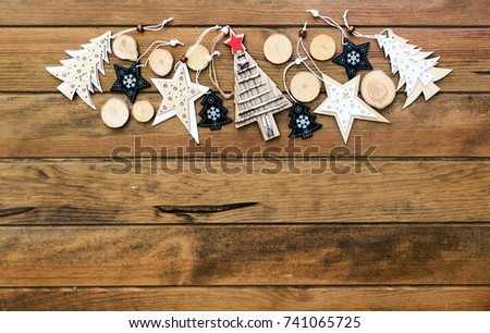 Christmas rustic decorations over wooden background #741065725