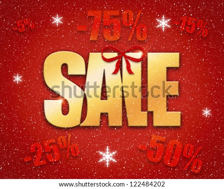 Christmas sale concept with golden text on red background