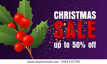 Christmas Sale design with holly leaves and berries and yellow confetti coming on dark blue background. Up to fifty percent lettering can be used for posters, leaflets, announcements