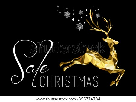 Christmas sale illustration design with gold low poly reindeer and holiday elements. Ideal for business, shop or campaign poster.