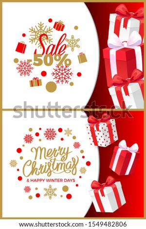 Christmas sale winter discounts and present boxes raster. Fifty percent reduction of price, snowflakes and gifts. Happy new year days clearance set