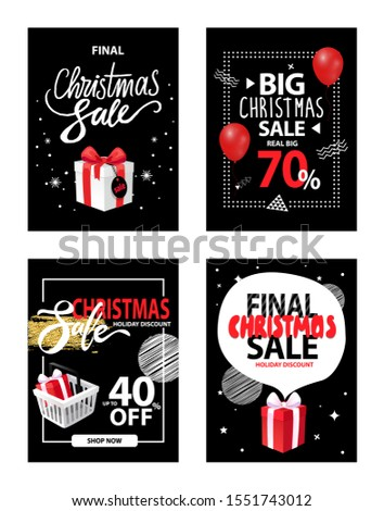 Christmas sale, winter discounts to customers raster. Promotion and clearance of shops, sellout offers in holiday period. Presents boxes and balloons