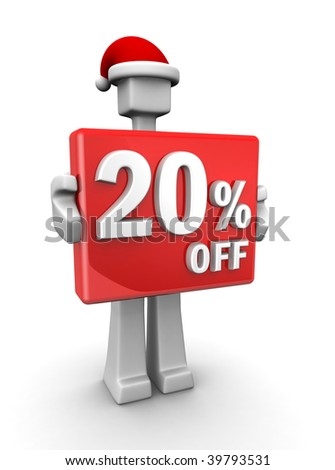 Christmas sales concept a man wearing santa hat showing 20 percent off signboard 3d illustration