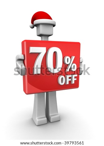 Christmas sales concept a man wearing santa hat showing 70 percent off signboard 3d illustration