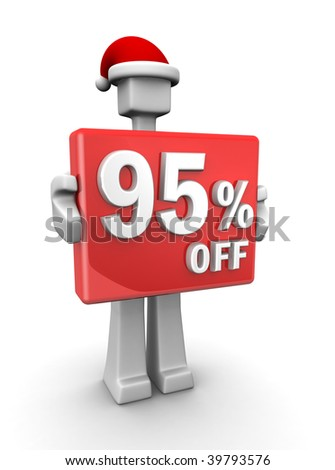 Christmas sales concept a man wearing santa hat showing 95 percent off signboard 3d illustration