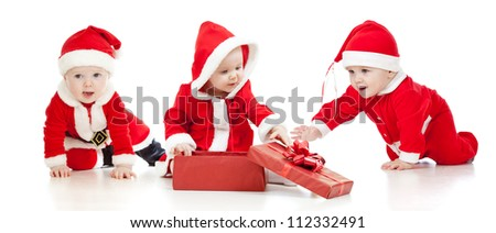 christmas Santa Claus babies boys and girl with gift box