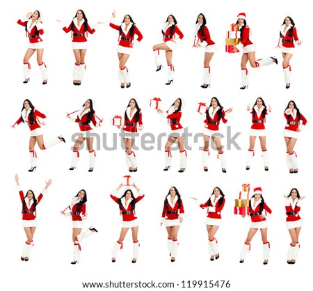 Christmas Santa Girl, new year party woman happy smile wear Clause costume, posing full length portrait isolated on white background, big set photo collage