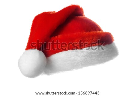 Christmas santa hat,  isolated on white