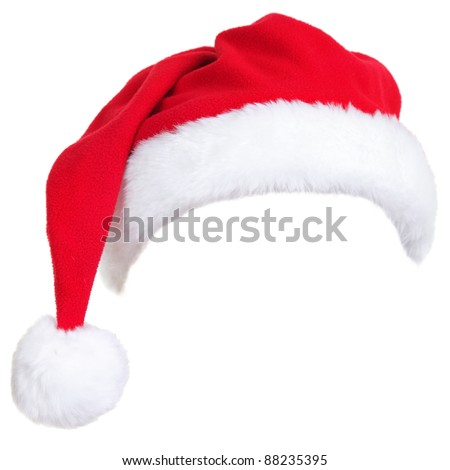 Christmas santa hat isolated on white background. designed to easily put on persons head.