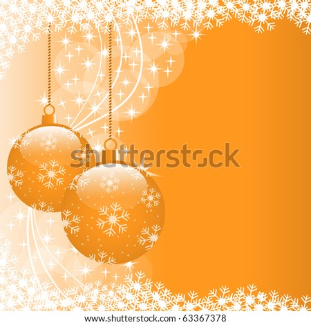 Christmas scene with hanging ornamental orange xmas balls, snowflakes and stars. Copy space for text. Vector also available.