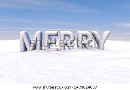 Christmas scene with merry word. 3d render. Winter snow background.