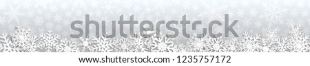 Christmas seamless banner with white snowflakes with shadows on gray background #1235757172