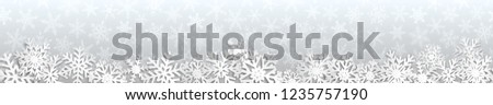 Christmas seamless banner with white snowflakes with shadows on gray background #1235757190