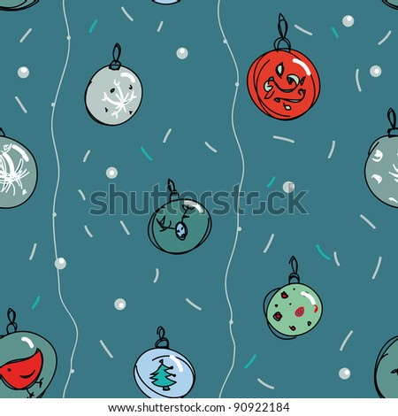 Christmas seamless pattern with New Year toys
