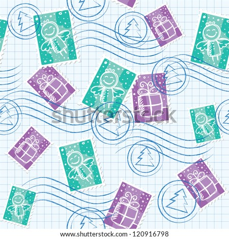 christmas seamless pattern with postage stamps and seals