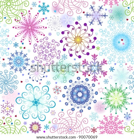 Christmas seamless pattern with variegated colorful snowflakes and stars