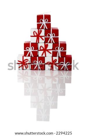 Christmas season! Small gift boxes with reflection