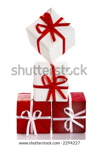 Christmas season! Small gift boxes with reflection