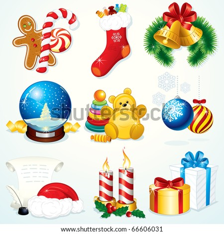 Christmas Set - detailed clip art include: gifts, sweets, decoration, symbols and other festive design elements --------------> VECTOR VERSION AT MY GALLERY