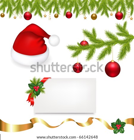 Christmas Set From Cap Of Santa Claus, Holly Berry, Branch With New Year's Sphere And Blank Gift Tag, Isolated On White Background