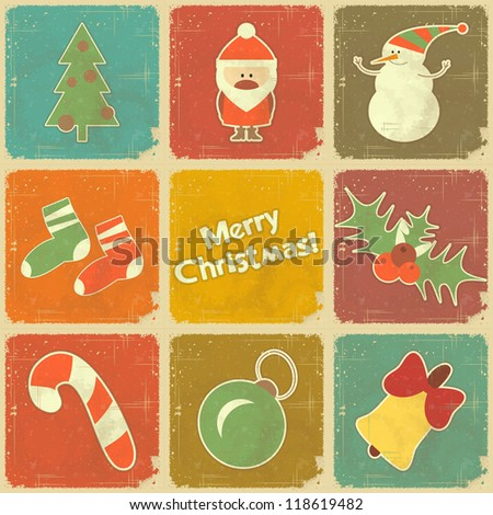 Christmas set - icons in retro style - JPEG version