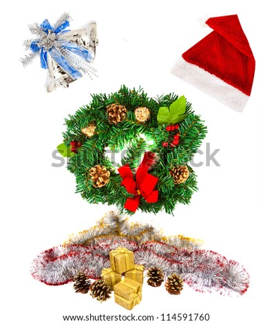 Christmas Set (santa's hat,wreath, candy cane, red ball) on white background - stock photo