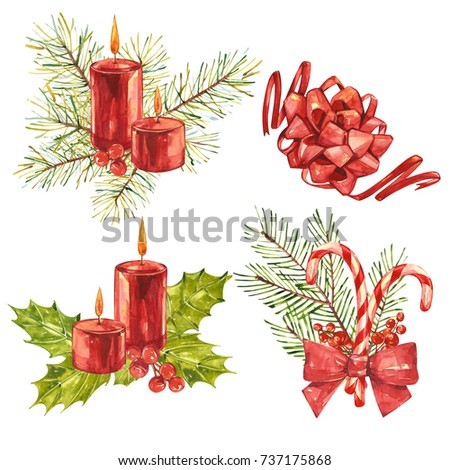 Christmas set with xmas mistletoe and decor. Watercolor painting isolated on white background. #737175868