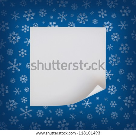 Christmas sheet of curved paper on blue snowflakes background