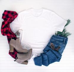 Christmas shirt mockup - white tshirt w buffalo plaid scarf, boots and jeans