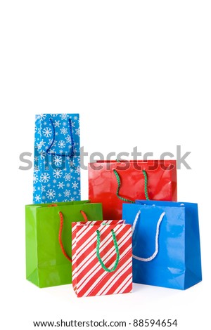 Christmas shopping bags isolated on a white background