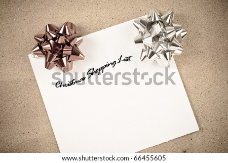 Christmas Shopping List with Holiday Bows