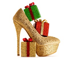 Christmas shopping. Sexy shoes presents.isolated on white.