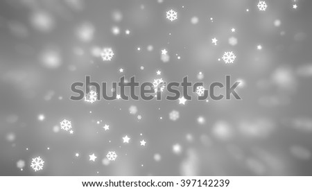 Christmas silver background with falling snowflakes. #397142239