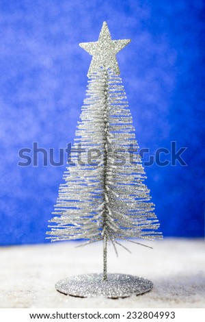 Christmas silver tree, greeting card. Christmas background.