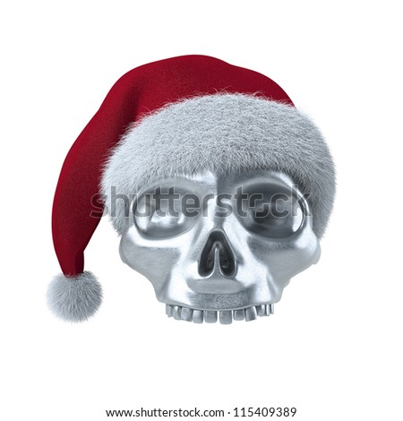 Christmas Skull with Santa cap on white 3D