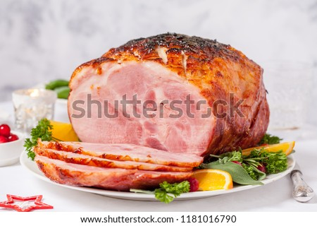Christmas Smoked Roasted Glazed Holiday Pork Ham