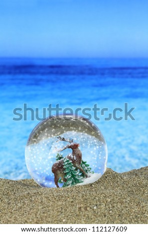 Christmas Snow globe on the beach