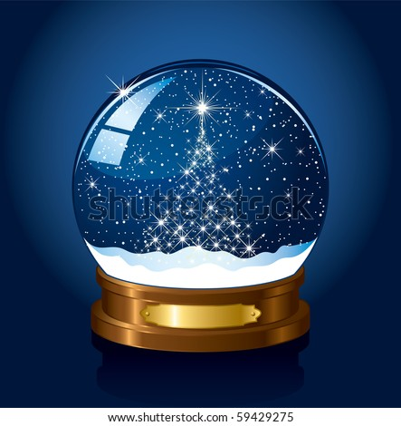 Christmas Snow globe with the falling snow, illustration