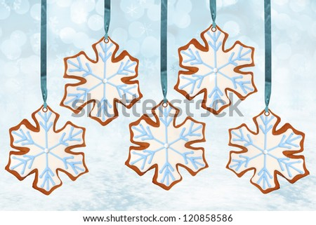 Christmas snowflake gingerbread cookies.