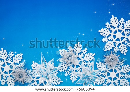 Christmas snowflake on blue background