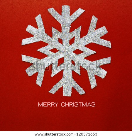 christmas snowflake on red paper card